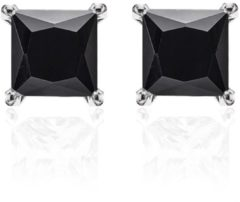 New Bling 9NB-0038 - Zilveren oorstekers - zirkonia vierkant 8 mm - zilverkleurig / zwart