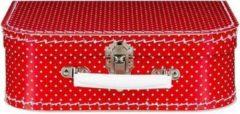 Fun & Feest Party Gadgets Decoratie koffertje rood met witte stippen - 25 x 16 cm