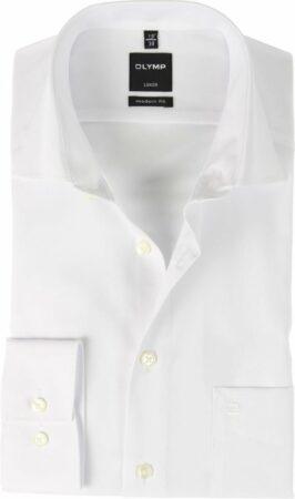 Afbeelding van Witte OLYMP Normaal (licht getailleerd) Onbekend Heren Overhemd Maat XL
