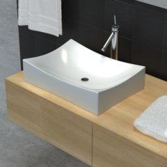 Witte VidaXL Keramische wasbak schaalvormig hoogglans (wit)