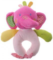 Paarse Eddy Toys pluche rammelaar olifant paars/roze 16 cm