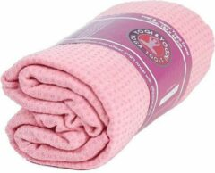Yogi & Yogini Yoga handdoek siliconen antislip roze - 183x65 - Silicoon - 500 - Roze