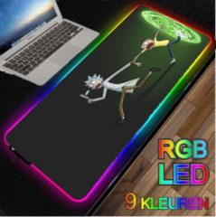 M-Glider RGB LED -- Muismat -- Rick and Morty -- 40x90Cm -- Gaming muismat XXL -- Waterproof -- Mousepad