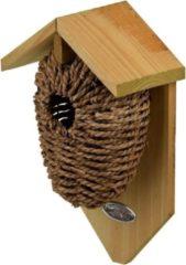 Bruine Decoris Houten vogelhuisje/nestbuidel zeegras 26 cm - Vogelhuisjes tuindecoraties - Winterkoning nestje