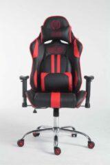 Luxe Comfort Gamingstoel kunstleer - bureaustoel voor volwassenen - zwart/rood - 135x70x135