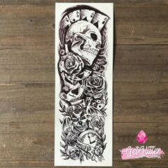 Zwarte GetGlitterBaby - Plak Tattoo Sleeve / Tijdelijke Tattoos / Nep Tatoeage - Doodshoofd