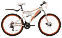 KS Cycling Fully Mountainbike, 26 Zoll, weiß-orange, 21 Gang Kettenschaltung, »Bliss«