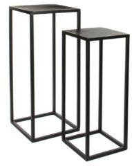 2x Bijzettafels/plantenstandaards Goa 30 x 30 x 70 cm - Zwarte metalen plantenhouder/plantentafel - Woonaccessoires