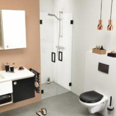 Zwarte Get Wet by Sealskin I AM Pendeldeuren 100x200cm voor een nis Mat zwart 8mm helder glas met antikalk IK301006195100