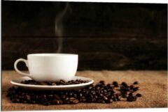 Beige KuijsFotoprint Dibond - Kopje Koffie met Koffiebonen - 90x60cm Foto op Aluminium (Met Ophangsysteem)