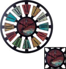 XL Grote Ronde Gekleurde Wandklok Hout Klassiek PARIS 60 Cm - Wand Klok Vintage / Retro / Modern / Rond Brons - Kleuren / Zwart - Industriële Wandklokken met Paris / Parijs Design - Keukenklok - Muurklok Wand Klok - Afm. 60 x 60 Cm - Decopatent®
