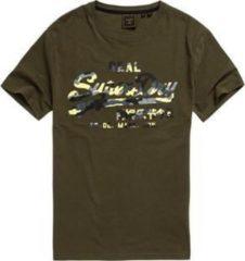 Kaki Superdry Vintage Logo Infill Heren T-shirt - Maat S