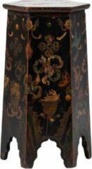 Zwarte Fine Asianliving Antieke Tibetaanse Plantentafel Draken Handgeschilderd B45xD45xH81cm Chinese Meubels Oosterse Kast