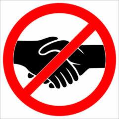 Universeel Sticker Verboden handen te schudden - 15cm