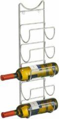 Zilver wijnflessen muurrek/wijnrek voor 5 flessen 61 cm - Zeller - Keukenbenodigdheden - Woonaccessoires/decoratie - Wijnflesrekken/wijnflessenrekken/wijnrekken - Rek/houder voor wijnflessen