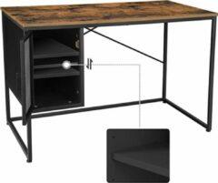 VASAGLE computer bureau, bureau met gaasdeur en verstelbare plank, industrieel, stalen frame, vintage bruin-zwart