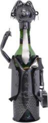 """Bruine Home of Decorations Vaderdag kados Metalen """"Business-Man"""" wijn fleshouder, 29,5 x 15 cm."""