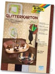 Folia glitterkarton classic (koper, zilver, zwart, champagnekleur en brons)