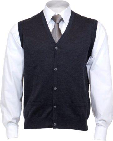 Afbeelding van Grijze OLYMP mouwloos heren vest wol - V-hals - antraciet - Maat XL