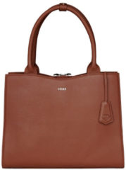 "Bruine Socha Diamond Leather Businessbag 10-14"" Cognac"