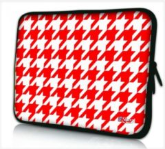 Sleevy 10,1 laptop/tablet hoes rood/wit patroon - tabletsleeve - tablet sleeve - ipad sleeve