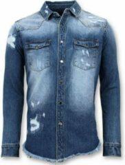 Enos Lange Spijkeroverhemd - Denim Blouse Heren - Blauw Casual overhemden heren Heren Overhemd Maat XS