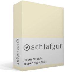 Bruine Schlafgut Jersey Stretch Topper Hoeslaken - 95% Gebreide Katoen - 5% Elastan - 2-persoons (140/160x200/220 Cm) - Ecru