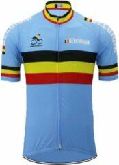 Lichtblauwe Merkloos / Sans marque Wielertrui Belgie - Blauw - Maat S
