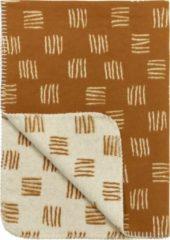 Gebroken-witte Meyco block stripe flanel ledikantdeken - 100x150 cm - camel/offwhite