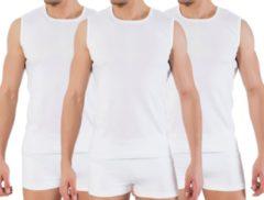 3 stuks Bonanza A-shirt - ronde hals - mouwloos - wit - S