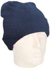 Marineblauwe Beechfield basic winter muts/beanie donkerblauw/navy acryl voor volwassenen - Winter Essentials/accessoires