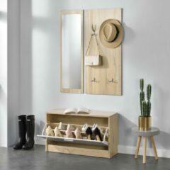 En.casa Schoenenkast met spiegel en kapstok - Sonoma eiken look