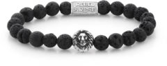 Rebel & Rose Rebel and Rose RR-8L021-S Rekarmband Beads Lion Black Moon 8 mm zilverkleurig-zwart L 19 cm