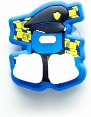 Blauwe Canar Eend Tandenborstel Houder voor Kinderen met Zuignap - Politie