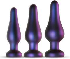 Zwarte Hueman Comets Buttplug Set - Buttplug Set Trainer Kit voor Mannen en Vrouwen - Set met 3 Formaten Buttplugs - Paars