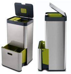Zilveren Joseph Joseph Intelligent Waste Totem RVS Afvalemmer 60 Liter (36+24 L)