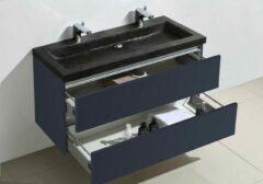 Lambini Designs Trend Stone badkamermeubel hoogglans antraciet 100cm, 2 kraangaten