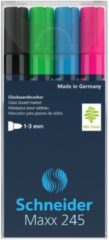Marker Schneider Maxx 245 4st. in etui, wit, groen, blauw, rood