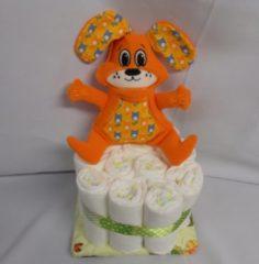 Sabinesgeschenkenshop.be 1 laag pampertaart hond digger oranje