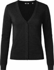 Zwarte WE Fashion Dames vest met ribstructuur - Maat L