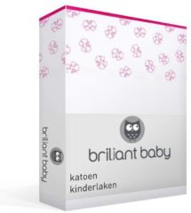 Roze Briljant Baby Hannah - Katoen - Kinderlaken - Wiegje - 75x100 cm - Wit