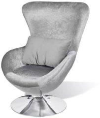 VidaXL Kleine draaibare designfauteuil met kussen (Zilver)