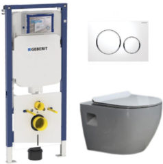 Douche Concurrent Geberit UP720 Toiletset - Inbouw WC Hangtoilet Wandcloset - Daley Flatline Sigma-20 Wit
