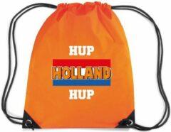 Bellatio Decorations Hup Holland hup rugzakje - nylon sporttas oranje met rijgkoord - Nederland supporter - EK/ WK voetbal / Koningsdag