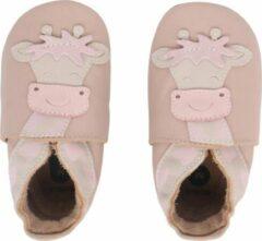 Creme witte Bobux - Soft Soles - Beige Giraffe - Babyslofjes EU 18
