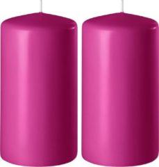 Enlightening Candles 2x Fuchsia roze cilinderkaarsen/stompkaarsen 6 x 15 cm 58 branduren - Geurloze kaarsen fuchsia roze - Woondecoraties