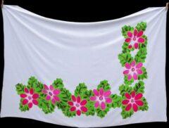 Merkloos / Sans marque Witte Batik Sarong Roze en Fuchsia-roze Bloemen Pareo Omslagdoek Hamamdoek StrandLaken Wikkel-rok Wikkel-Jurk Beste Kwaliteit Rayon - Viscose 115 * 165 cm