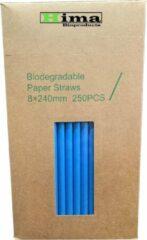Hima Bioproducts Papieren rietjes 8x240mm blauw, verpakt per 250 stuks in dispenser