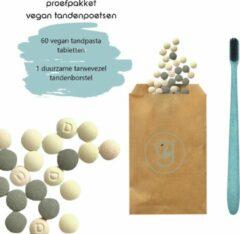 Groene Green-goose Tandpasta Tabletten | S | 60 Tandpastatabletten (mixed) | 1 Duurzame Tandenborstel | White Mint | Actief Houtskool | Aardbei | Geen Fluoride