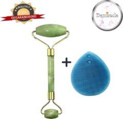 Demiracle Jade Face Roller met Blauwe Siliconen Gezichtsborstel - Cadeau - Gezichtsroller - Massage Roller - Jade Roller - Rimpelverwijdering - Ontspanning - Kwaliteit